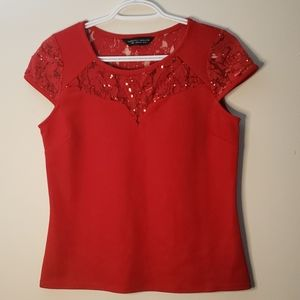 Dorothy Perkins Red Top with Lace & Sequin